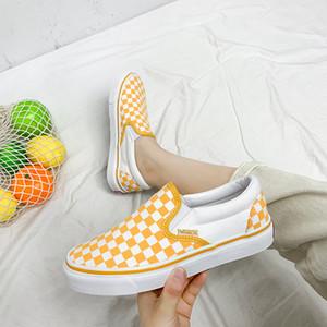 Corea del Sur ulzzang zapatos de lona de verano blanco y negro del tablero de ajedrez pedal de amantes de los zapatos femeninos de los hombres zapatos del patín