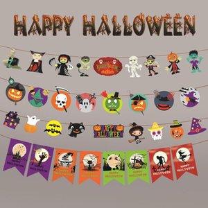 1pc papier 3M chaîne Garland bannière citrouille chauve-souris d'araignée Drapeaux Bunting Halloween Décoration Garland fête en plein air bannières Fournitures