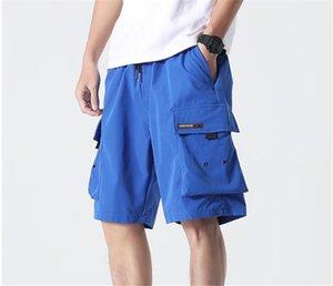 7XL Sommermens Cargo-Shorts Solid Color Aufmaß lose beiläufige Hip Hop Teenager Herren Designer Shorts Knielänge mit Taschen