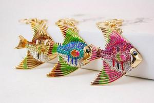 Niedliches Cartoon-Tier-tropische Fische Keychain - Strass Damen-Auto-Schlüsselketten-Ring-Halter-Beutel-Anhänger Charm Fashion Jewelry