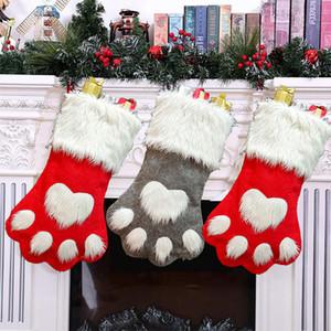 Gift Bag Natale Decorazione della zampa del cane Calzino Rosso Grigio Calza della Befana non tessuto Candy Bag Albero di Natale regalo di natale DBC VT0754