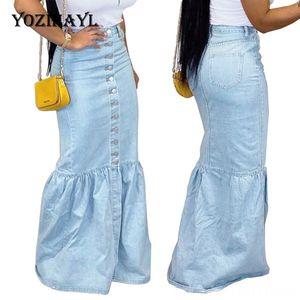 Frauen Röcke Damenbekleidung beiläufige Trompete Street Fest Demin Rock Bodycon Floorlength Demin Rock plus Größe 3XL