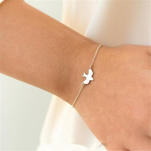 Wholesale- Tiny Peace Dove-Armband Soar Flying Birds Armband Kleine nette Swallow Vogelbaby Armbänder Abstrakt Armbänder