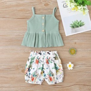 Gilrs Braces Ruffle Tops+Pants Outfits Summer Kids Boutique Clothing Little Girls Rib Tops Trousers 2 PC Set Cute