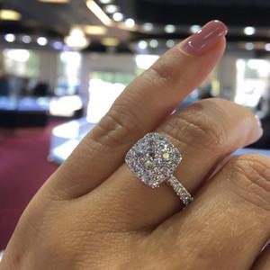 boda espumoso completa circón anillos de compromiso para las mujeres de calidad superior de la joyería S925 Partido señoras de las muchachas tamaño del anillo 6 7 8 9 10 Bague