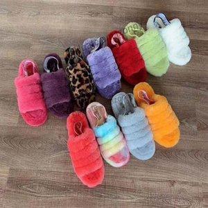 Kadın Çocuk Kız Kürklü Botlar Terlik Fluff Evet Tasarımcı Sandalet de neon Sarı Mavi FurSlipper Hausschuhe Moda Lüks Pantoufles Slide