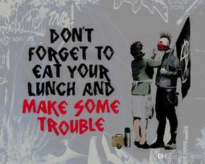 Handpainted HD Baskılı Banksy Graffiti Sanat Yağ öğle yemeği yiyin ve Canvas Ev Dekorasyonu Çoklu Boyut G151 200.313 On Bazı Trouble Make Boyama