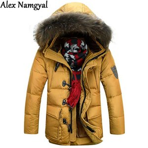 AlexNamgyal New 2017 Winter Men's Jacket Male Brand Natural Fur Collar Plus Thick Horn Button Jacket Men Padded Jackets XG170