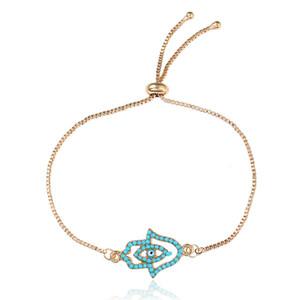 Blue Crystal Bracelets mauvais Eye pour Femmes Cadeaux Porte-main Bijoux en or Bracelet chanceux femmes Bijoux