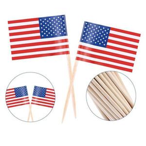 100pcs amerikanische Flagge Zahnstocher-Kuchen-Deckel UK Zahnstocher Flagge Backen Kuchen Dekor Getränk Bier-Stock-Partei-Dekoration Supplies DBC DH1214