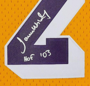 "James sarı layık Taşa Yazılan ""HOF '03"" İmza Jersey gömlek boyutu S signaturer signatured Signed - 4XL"