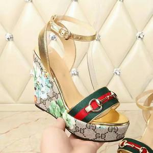 estilo hebilla elegante línea de 7New marca de moda gruesos zapatos de tacón alto talón de las sandalias de cuña zapatillas damas zapatos cómodos de la manera con la caja
