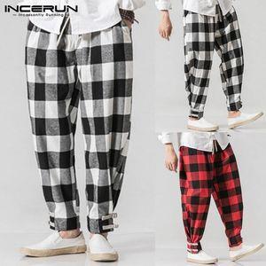 Incerun Fashion Men Harem Pants Plaid Hip-hop Loose Male Pants 2019 Streetwear Joggers Casual Vintage Pantalones Hombres Plus Size 5xl Y19073001