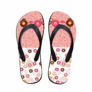 Customized Hot Sale Women Slip-on House Flip Flops 3D Pink Donuts Beach Slippers Woman Flats Female Casual Summer Water Shoes