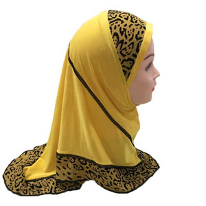 12pcs One Dozen Muslim Hijab Islamic Girls Kids Scarf Shawls Spliced Leopard Patchwork for 2 to 7 years old Girls Wholesale