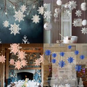 6pcs / set 3D-Schneeflocke-Weihnachtsverzierungen Weihnachtsbaum-hängende Dekoration New