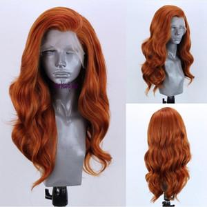 اللون مجانا الجزء أورانج شعر مستعار البرازيلي الطبيعية طويل الجسم موجة النحاس الأحمر مسبقا التقطه الجبهة الرباط الاصطناعية الباروكة للنساء الابيض