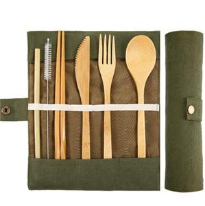 7pcs Bamboo talheres Set portátil Faqueiro faca Fork Colher Straw Brushes Outdoor Viagem Dinnerware Set Com saco de pano / set LXL758-1