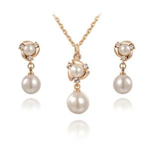gioielli Set Sposa in oro rosa di cristallo della perla di Faux orecchini di pendente della collana di Dubai gioielli nuziali set Nuovi monili di nozze