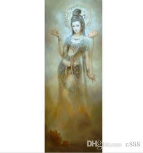 volar china de Gansu Dunhuang sostiene la flor de loto pintura al óleo pintada a mano de alta definición Impreso, Arte pared en la lona de múltiples tamaños P158 200311