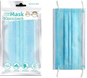 Kids mask 10pcs pack 3-12years Designer Fashion face Mask Children 3 layers Disposable Mask Protective Mouth DHL free shipping