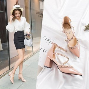 Fairy2019 High Sharp Latest Fashion Sandals Patent Leather Coarse With One Word Bring Rivet Will Woman Shoes