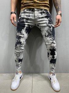 Tie Dye Flexible Mens Jeans Skinny Casual Male Designer Pencil Pants Four Seasons Fashion Mens Clothing