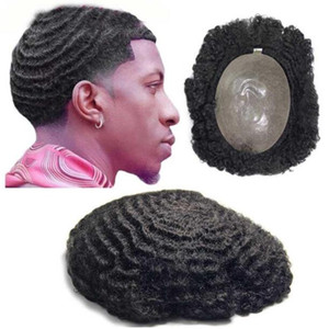 360 Wave Afro Hair Q6 Lace Front Toupee Full Lace Toupee Full Pu Toupee 10a China Virgen Human Hair Reemplazo para Hombres
