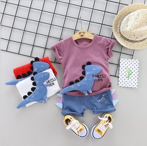 2020 Summer Toddler Infant Clothing Sets Baby Girls Boys Clothes Suits Dinosaur T Shirt Shorts Kids Children Costume 2pcs set CX200628