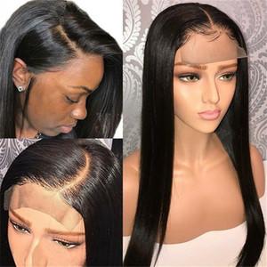 Cheveux Lace Front Wigs Malaydain Péruvien Indien cheveux dentelle Fermeture perruque 4x4 Pré-plumé avec bébé cheveux Vierge Lace Wig état brut