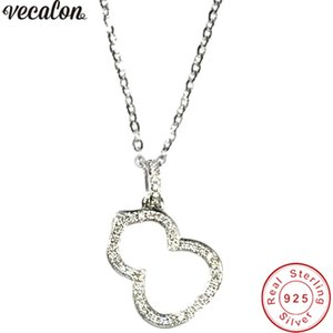 Vecalon Forma de calabaza colgante 925 plata esterlina 5A circón Boda Colgantes de Compromiso con collar para Las Mujeres Joyería Nupcial