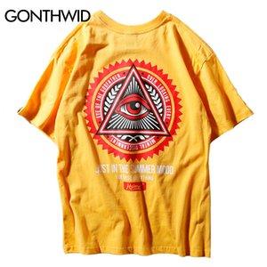 Gonthwid Geometria Triangle Camisetas Homens Hip Hop Eye Of Padrinho Impresso Algodão Casual Tops Tees Streetwear Tshirts Q190518