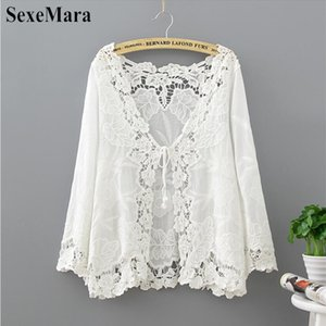SexeMara 2019 Fashion Sexy Summer Hollow Out White Blouse Beach Kimono Cardigan Holiday Lace Up Tops Women Long Sleeve Crochet Y200622