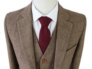 maßgeschneiderte slim fit Anzüge für Männer Retro-Wolle Brown Herringbone Tweed Hochzeitskleid kundenspezifische Mens 3 Stück Anzug Blazer