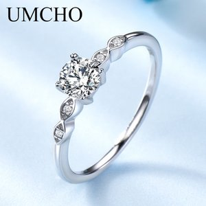 UMCHO Prata 925 Luxury nupcial cúbicos anéis de zircônia para presente Mulheres Solitaire festa de noivado Wedding Band Jewelry New Y200321