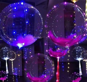 Luminous Led Balloon Colorful Transparent Round Bubble Decoration Party Wedding Balloons Lighting in Dark 3M String c222