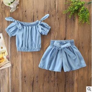 Kinder-Designerkleidung für Mädchen 2ST Outfit Set 2019 Sommer-Baby-Mädchen-weicher Denim weg vom Schulter-Bogen-T-Shirt Bluse Tops + Wide Leg Pants Shorts Set