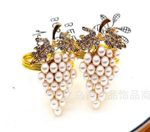 De oro con incrustaciones de perlas de uva servilleta círculo servilleta servilleta hebilla Set Hotel servilletas anillo anillos de toallas de papel