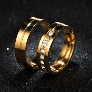 Bague en or Groove en acier inoxydable diamant Bagues de fiançailles Bagues de mariage Bague Hommes bagues femmes bijoux à la mode PSIR et drop Sandy