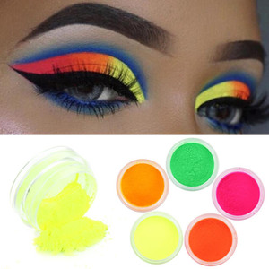 5pcs / lot Popular New Luminous Makeup Fluorescent Neon Pigment Paleta de Sombra Brilho Em Dark Eye Sombra Glitter Make up