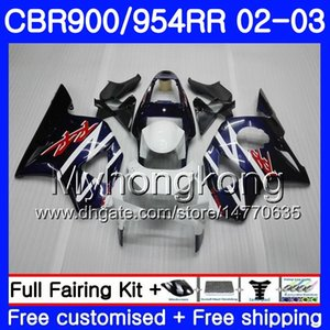 Corpo per HONDA CBR900RR CBR 954 RR CBR900 RR CBR954 RR 280HM.0 CBR 900RR CBR954RR 02 03 CBR 954RR 2002 2003 Kit carene Factory blu bianco