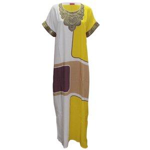 Frauen-Kleider der Frauen Designer-Kleid-beiläufige Frauen-Sommer-lose Ankara Art Maxi lange Mode Kleid Appliques Straight Thin Femme Vestidos