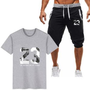 رياضيين مجموعة الرجال العلامة التجارية اللياقة البدنية الدعاوى الصيف 2 قطعة الزى قصيرة مجموعة الرجال الأزياء 2 قطع قميص تي شورت رياضية الحجم M-2XL