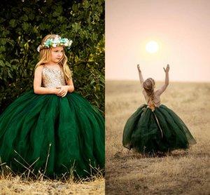 Glitz Tutu Emerald Green Flower девочки Платья 2020 Холтер Backless Gold Блестки Топ Тюль Страна Длинные Дешевые Дети Первое причастие платье