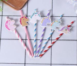 Unicorn Kağıt Straw Unicorn Doğum Günü Partisi Şenlikli Malzemeleri Dekorasyon Gökkuşağı At Kağıt Straws İçme Straw