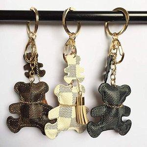 3 색 곰 키 체인 액세서리 술 열쇠 고리 PU 가죽 곰 패턴 자동차 열쇠 고리 여성 가방 매력 보석 크리스마스 선물
