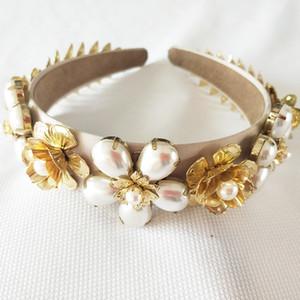 Elegante imitación perla Rhinestone incrustaciones nupcial dorado hojas corona tiara boda novia pelo joyería tiaras J190701