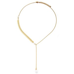 New Fashion Stainless Steel Y Shape Round Imitation Pearl Pendant Necklace Maple Leaf Imitation Pearls Necklace For Women Jewelry Gift Party