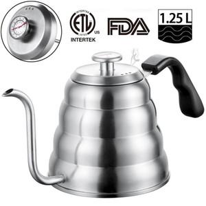 Termometre ile Paslanmaz Çelik Çay Kahve Kettle, Gooseneck İnce Bacalı için, 40oz / 1.25 L soba üstünde Üzeri Cezve, Çalışmaları dökün