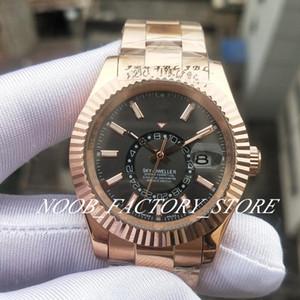Luxury Men Sky M326935-0007 Rose Gold Rose Brap 2813 Автоматическое движение GMT Рабочее кольцо Команда 42 мм Мужские спортивные часы